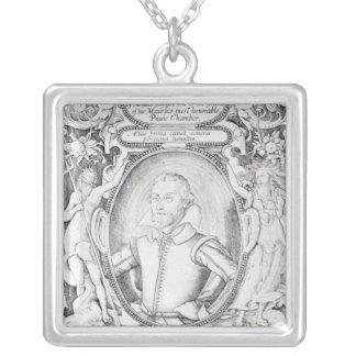 Portrait of Samuel Daniel Silver Plated Necklace