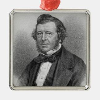 Portrait of Samuel Lover Silver-Colored Square Decoration