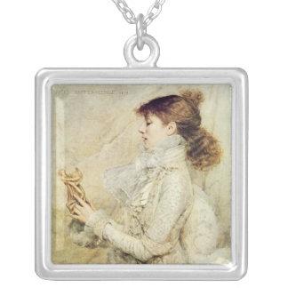 Portrait of Sarah Bernhardt Square Pendant Necklace