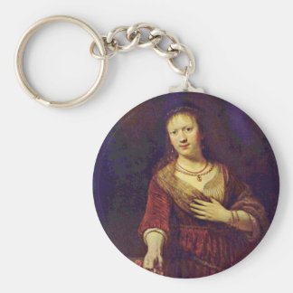 Portrait Of Saskia With A Flower By Rembrandt Keychain