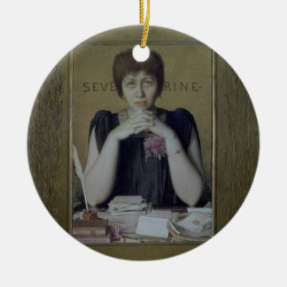 Portrait of Severine (Caroline Remy) (1855-1929) ( Round Ceramic Decoration