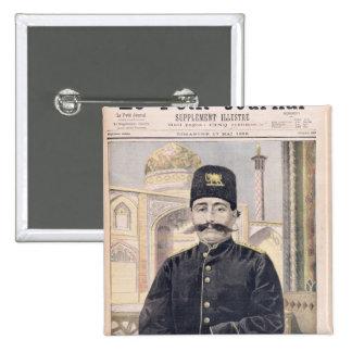 Portrait of Shah Mozzafer-ed-Din 15 Cm Square Badge