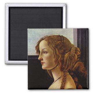 Portrait of Simonetta Vespucci by Botticelli Square Magnet