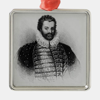 Portrait of Sir Christopher Hatton Silver-Colored Square Decoration