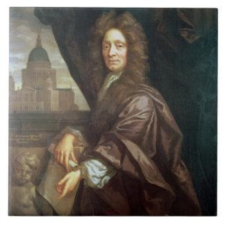 Portrait of Sir Christopher Wren (oil on canvas) Large Square Tile