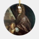 Portrait of Sir Christopher Wren (oil on canvas) Round Ceramic Decoration