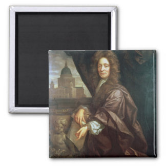 Portrait of Sir Christopher Wren (oil on canvas) Square Magnet