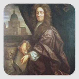Portrait of Sir Christopher Wren (oil on canvas) Square Sticker