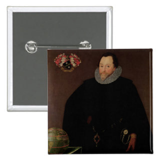 Portrait of Sir Francis Drake  1591 15 Cm Square Badge