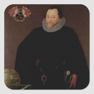 Portrait of Sir Francis Drake  1591 Square Sticker