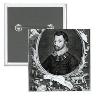 Portrait of Sir Francis Drake 15 Cm Square Badge