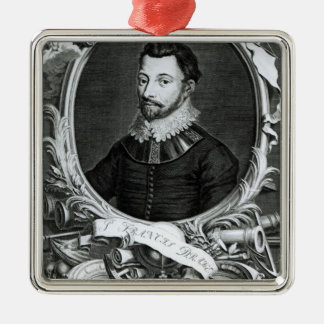 Portrait of Sir Francis Drake Silver-Colored Square Decoration
