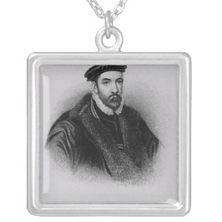 Portrait of Sir Nicholas Bacon Silver Plated Necklace