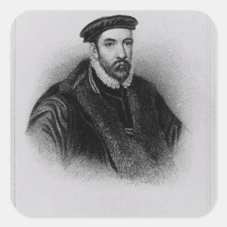 Portrait of Sir Nicholas Bacon Square Sticker
