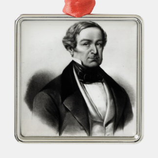 Portrait of Sir Robert Peel Silver-Colored Square Decoration