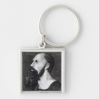 Portrait of Sir Thomas Wyatt Silver-Colored Square Key Ring