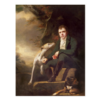 Portrait of Sir Walter Scott and his dogs Postcard