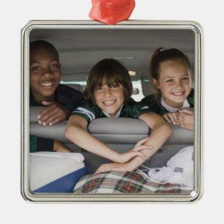Portrait of smiling children in car Silver-Colored square decoration