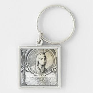 Portrait of St.Jadwiga Silver-Colored Square Key Ring