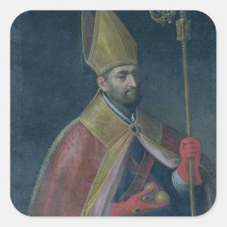 Portrait of St. Nicholas, 1700 (oil on canvas) Square Sticker