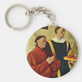 Portrait Of The à ‰ Tienne Chevalier With St. Step Basic Round Button Key Ring