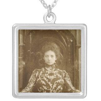 Portrait of the actress Vera Komissarzhevskaya Square Pendant Necklace