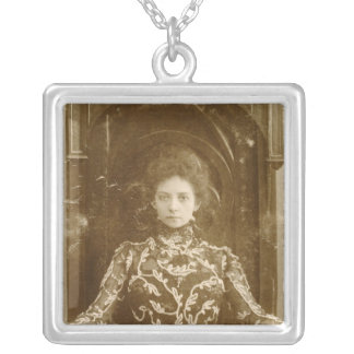 Portrait of the actress Vera Komissarzhevskaya Silver Plated Necklace