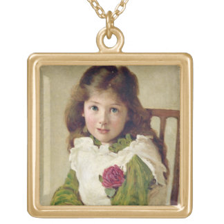 Portrait of the Artist's Daughter (oil on canvas) Gold Plated Necklace