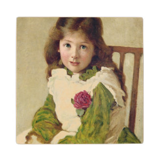 Portrait of the Artist's Daughter (oil on canvas) Maple Wood Coaster
