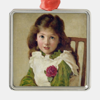 Portrait of the Artist's Daughter (oil on canvas) Silver-Colored Square Decoration