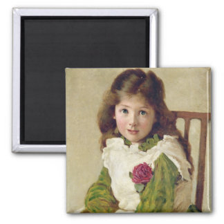 Portrait of the Artist's Daughter (oil on canvas) Square Magnet