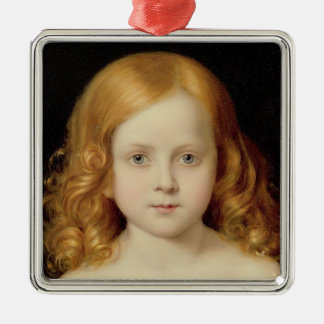 Portrait of the Artist's Daughter Silver-Colored Square Decoration