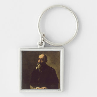 Portrait of the Blind Sculptor, Gambazo  1632 Silver-Colored Square Key Ring