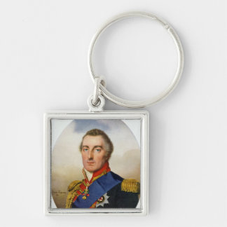 Portrait of the Duke of Wellington Silver-Colored Square Key Ring