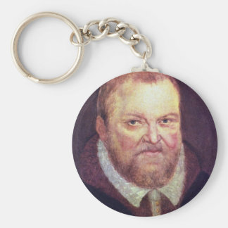 Portrait Of The Elector Augustus I Of Saxony By Cr Basic Round Button Key Ring