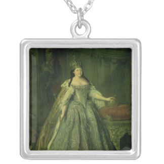Portrait of the Empress Anna Ivanovna  1730 Silver Plated Necklace