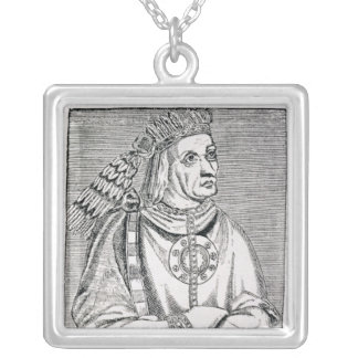 Portrait of the Last Inca Chief, Atahualpa Silver Plated Necklace