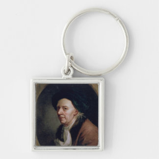 Portrait of the Mathematician Leonard Euler Silver-Colored Square Key Ring