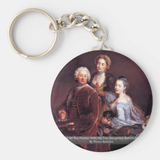 Portrait Of The Painter With His Two Daughters Basic Round Button Key Ring