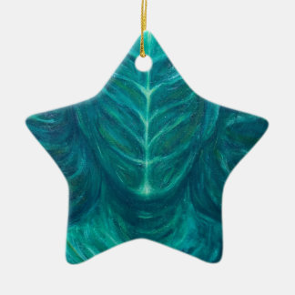 Portrait of the Real Green Man (surrealism) Ceramic Star Decoration