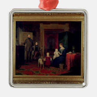 Portrait of the Van Cortland Family, c.1830 Silver-Colored Square Decoration