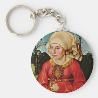 Portrait Of The Wife Of Dr. John Stephan Reuss By Basic Round Button Key Ring