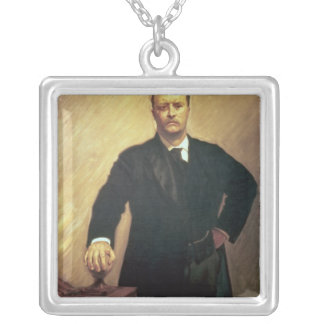 Portrait of Theodore Roosevelt Silver Plated Necklace