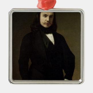 Portrait of Theophile Gautier , 1839 Silver-Colored Square Decoration
