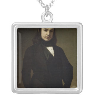 Portrait of Theophile Gautier , 1839 Silver Plated Necklace