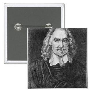 Portrait of Thomas Hobbes 15 Cm Square Badge