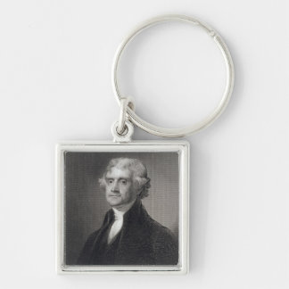 Portrait of Thomas Jefferson, engraved by Henry Br Keychains