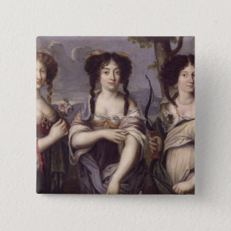 Portrait of three of nieces of Cardinal 15 Cm Square Badge