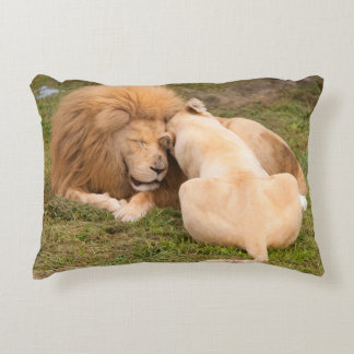 Portrait of Timbavati White lion male and female Accent Cushion