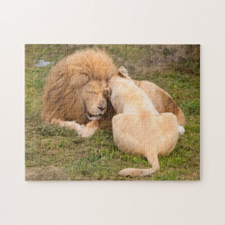 Portrait of Timbavati White lion male and female Jigsaw Puzzle